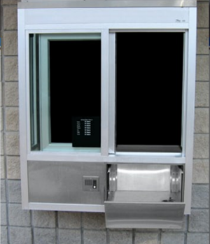Security windows with deal trays or security drawers